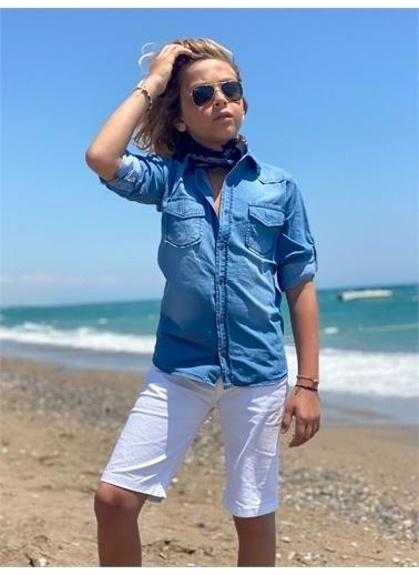 Hilal Akıncı Kids Erkek Çocuk Mavı Kot Gömlek Renklı Şort Ikılı Takim Beyaz
